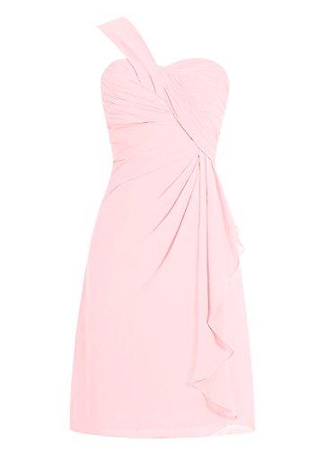 Dresstells En Courte Cœur Rose Robe Demoiselle Mousseline Col épaule De Asymétrique D'honneur zqpwxz6rt