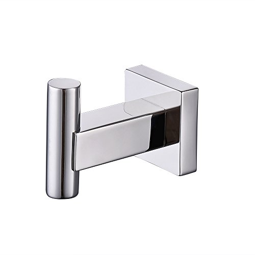 - KES SUS 304 Stainless Steel Coat Hook Single Towel/Robe Clothes Hook for Bath Kitchen Garage Heavy Duty Contemporary Square Style Wall Mounted Polished Finish, A2260