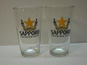 Sapporo cerveza vidrio 16oz, Transparente, 4