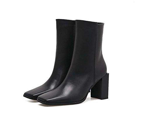 Zipper Eu Zapatos Martin Boot Mujeres Chunkly La Cuadrado 35 Tacón Black Zapato 39 Tall Chelsea Boda Bootie Boots De Hermoso Tamaño 8cm AT6wqBB