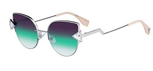 New Fendi RAINBOW FF 0242/S VGV/QC silver crystal/violet green shaded Sunglasses