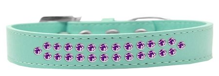 Mirage Pet Products Two Row Purple Crystal Aqua Dog Collar, Size 20 by Mirage Pet Products