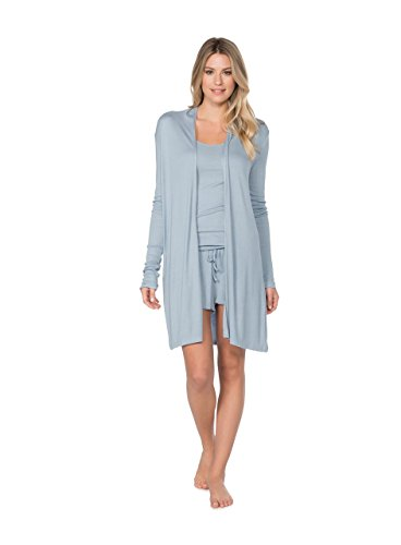BAREFOOT DREAMS LUXE RIBBED JERSEY LONG CARDI (MEDIUM, CHAMBRAY) by Barefoot Dreams