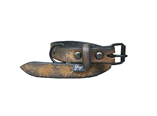 Vintage Black Leather Dog Collar, Ideal for All Breeds, Adjustable Collar, YupCollars, Made in Italy