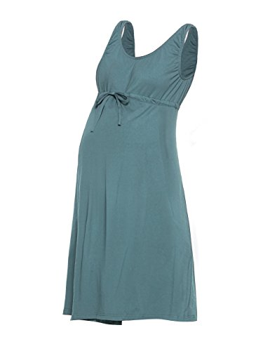 Saifeier PJ 2 in 1 Nursing Nightgown Sleeveless, Hospital Must Have, Pregnancy and Breastfeeding(Blue Green,L)