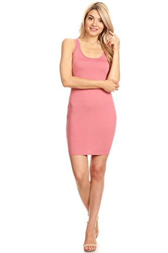 (Casual Sexy Racer-Back Mini Bodycon Dress/Made in USA Pink M)