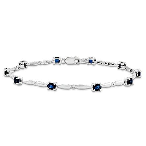 Or blanc 14 carats avec saphir et diamant brut JewelryWeb-Bracelet