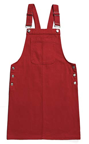 Women's Casual Adjustable Straps A-line Bib Pocket Denim Pinafore Overall Dress (X-Large, Red) ()