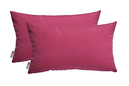 RSH Décor Set of 2 Indoor/Outdoor Decorative Throw Pillows Sunbrella Canvas Hot Pink - 12