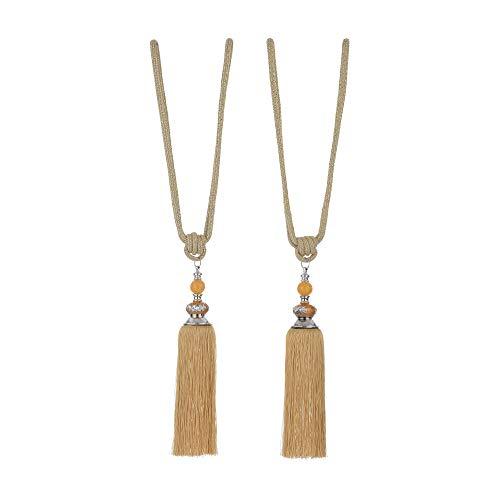 A-PIE 1 Pair Beaded Tassels Curtain Tiebacks Rope Holdbacks for Bedroom (Gold)