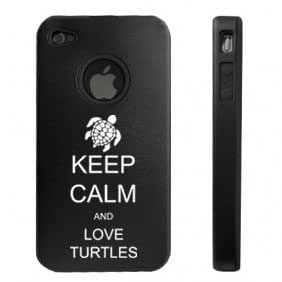 Apple iPhone 4 4S Black D6698 Aluminum & Silicone Case Cover Keep Calm and Love Turtles