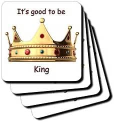 3dRose cst_4314_3 Its Good to be King-Ceramic Tile Coasters, Set of 4