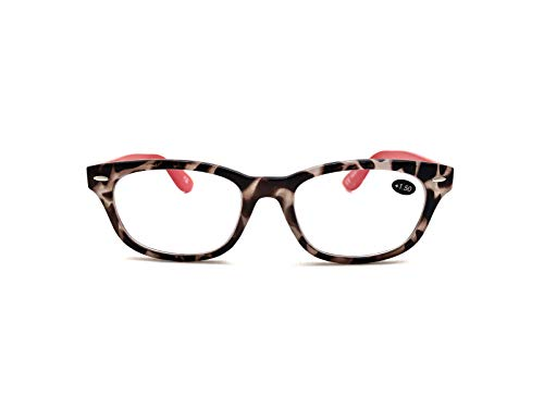 (EyeSquared Deluxe Reading Glasses - For Men And Women, Comfortable Stylish Simple Readers With Spring Hinges (Brown/Red, 1.5))