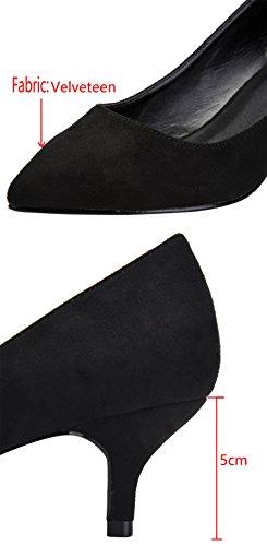 Camssoo Kitten Tacco Per Donna Classico Slip On Scarpe A Punta Spuntate Scarpe In Velluto Nero
