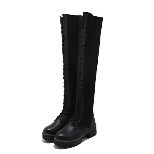 Agodor Womens Over The Knee High Lace Up Long Boots With Low Block Heel Winter Shoes Black-long gbc4Jq