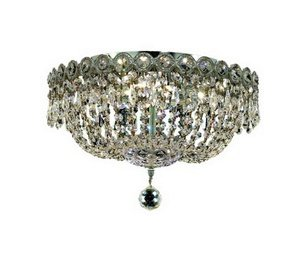 Elegant Lighting Century Collection 1900F14C/SA 4-Light Flush Mount with Swarovski Spectra Crystal, Chrome Finish Century Collection Flush
