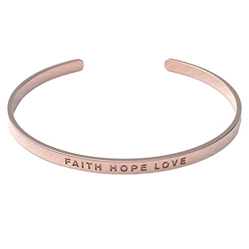 - Remember Him Christian Bracelet | Scripture Faith Hope Love | Crafted from Tarnish Resistant 18K Rose Gold Coated Material | Adjustable for All Wrist Sizes | Suitable for Men and Women