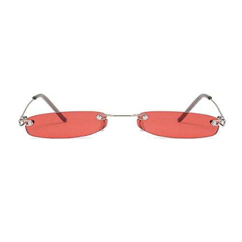métal pour et les Lunettes monture en femmes rectangulaire les Rouge sans soleil hommes sans de monture Huicai YwvFw