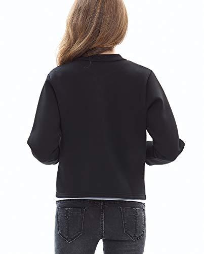 Tops Donna Blackmyth Giacca Manica Girocollo Lunga Outwear Autunno Nero Corto Casual 4zgzqwCT