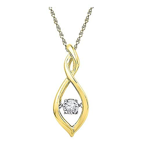 Roy Rose Jewelry 10K Yellow Gold Womens Round Diamond Moving Twinkle Solitaire Pendant .03-Carat tw ()