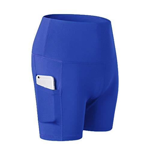 Garish  Women's High Waist Yoga Short Abdomen Control Training Running Yoga Pants Blue by Garish (Image #5)