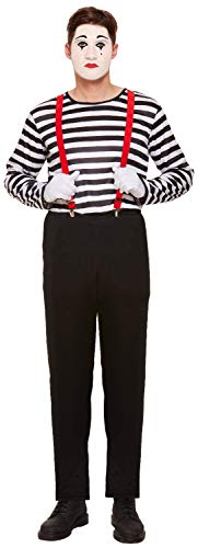 Mens Striped French Mime Artist Circus Halloween Carnival
