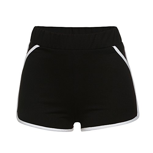 Respctful✿High Waist Yoga Shorts Capri and Leggings with 2 Side Pockets Workout Running Yoga Shorts 4 Way Stretch Black