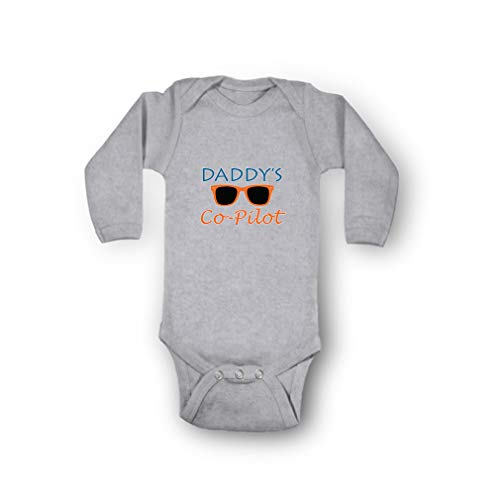 Daddy's Co-Pilot Envelope Neck Boys-Girls Long Sleeve Cotton Baby Bodysuit One Piece - Oxford Gray, 6 Months