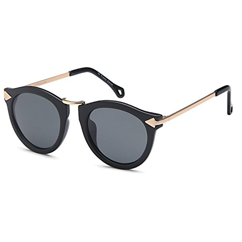 CATWALK UV400 Womens Round Cat Eye Sunglasses with Arrow Design Metal Fashion Frame and Flash Lens Option – Gray Lens on Black Gold - On That Look Round Sunglasses Faces Good