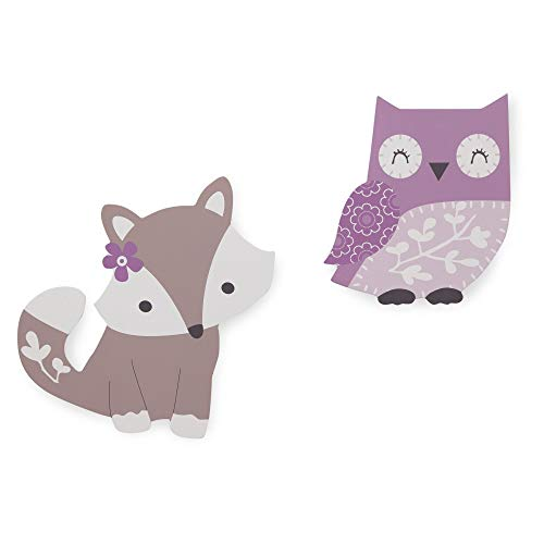 Bedtime Originals Lavender Woods Purple/Taupe Owl and Fox Wall Decor