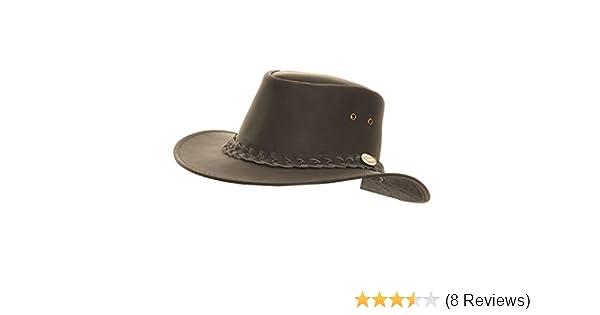 b50b85df3edbf Mens Leather Hat Cowboy Australian Bush Stetson Black Brown at Amazon Men s  Clothing store