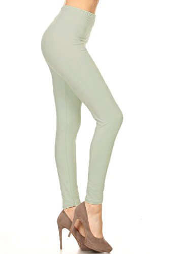 Leggings Depot Ultra Soft Basic Solid REGULAR and PLUS 42 COLORS Best Seller Leggings Pants Carry 1000+ Print Designs (One (Size 0-12), Seafoam)