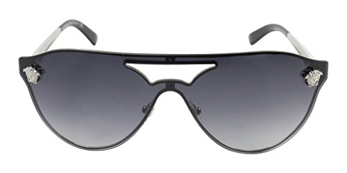 Versace Medusa Womens Sunglasses VE2161 1000/8G Silver/Grey Gradient Lens Aviator 42mm - Versace Shades Dark
