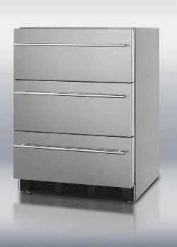 Summit SP6DSSTBOSThin Outdoor Three-Drawer Beverage Refrigerator In Stainless Steel, With Thin Handles And Auto Defrost