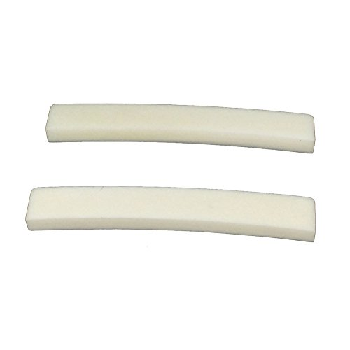 Greenten Bone Blank for Vintage-Style Stratocaster Telecaster Electric Guitar String Nut, 44.5mm, 2Pcs