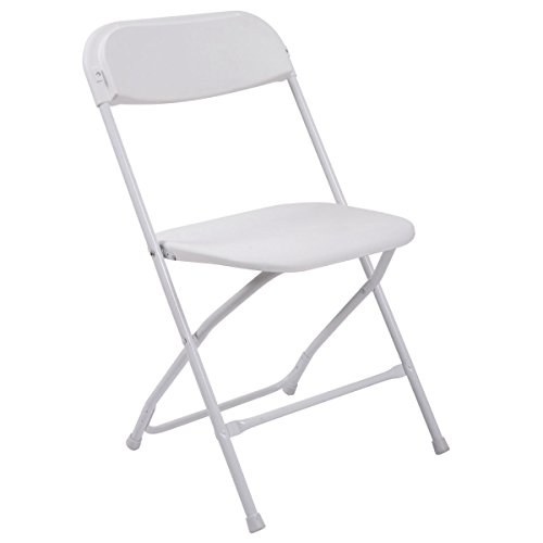 JAXPETY 8 Commercial White Plastic Folding Chairs Stackable Wedding Party Event Chair White