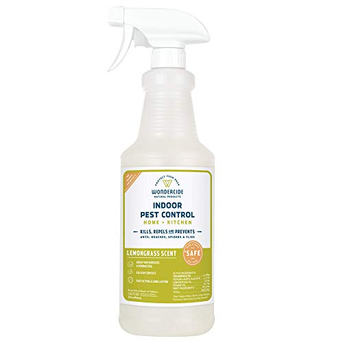 Wondercide Natural Indoor Pest Control Spray for Home and Kitchen - Fly, Ant, Spider, Roach, and Bug Killer and Repellent - 32 oz Lemongrass