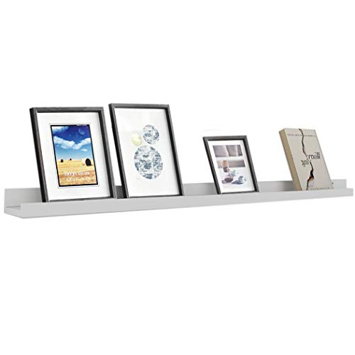 Aceshin Rustic Floating Shelf, Photo Ledge Picture Display Wall Shelf for Holding Family Pictures Collectibles Decorative Items Books, White