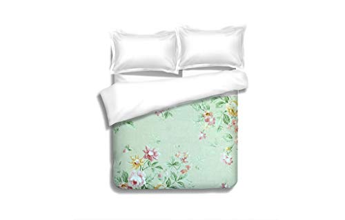 MTSJTliangwan Family Bed Vintage Green Wallpaper with Floral Pattern 3 Piece Bedding Set with Pillow Shams, Queen/Full, Dark Orange White Teal -