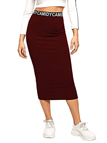 SheIn Women's Casual Ribbed Knit Letter Print Waist Striped Bodycon Pencil Midi Skirt Burgundy