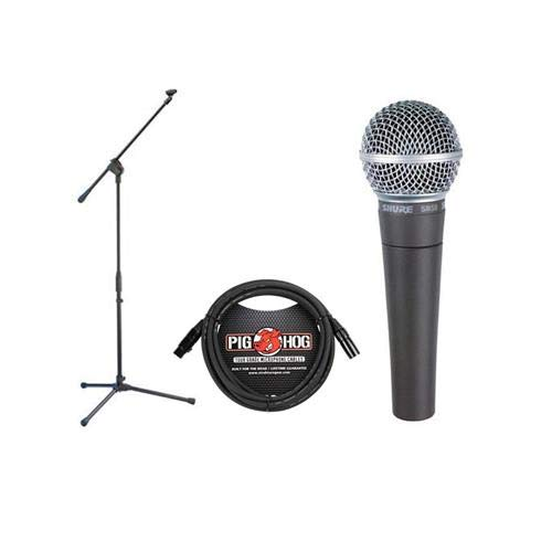 Shure SM58-LC Cardioid Dynamic Vocal Microphone Bundle with Stand Adapter and Zippered Pouch by Shure