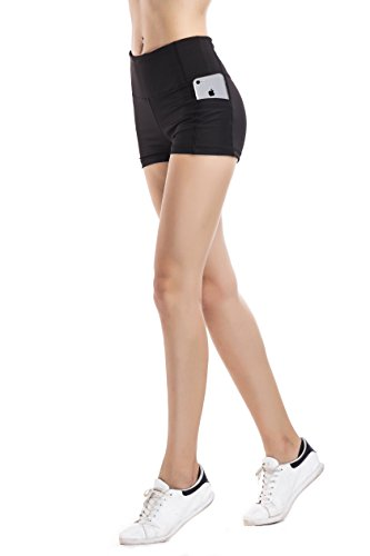 Imido Women's Yoga Short Pants Workout Running Shorts Exercise Tights High Rise with Side Pocket