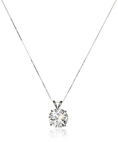 14k White Gold 9mm Round Cubic Zirconia Solitaire Pendant Necklace (2.75 carat, Diamond Equivalent), - 9mm Box White Gold Chain
