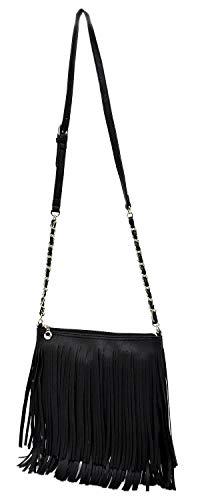 Western Bag Fringe Vintage Chain Hipster Bag Strap Cross Tassel Shoulder Elphis 031 Black Body AdqwxPd4