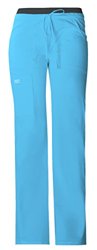 Cherokee Workwear Core Stretch Women's 24001 Low-Rise Knit Waist Cargo Pant- Turquoise- X-Small Petite (Low Rise Petite Uniform)