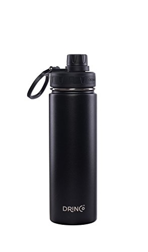 Drinco – Stainless Steel Water Bottle | Double Wall Vacuum Insulated Water Bottle | Perfect for Traveling Camping with Spout Lid | Black | BPA Free | 20 oz
