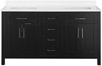 Ove Decors Tahoe 60E Quartz Top Bathroom Double Sink Vanity, 60-Inch by 21-Inch, Espresso