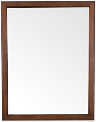 MAYKKE Chloe 30″ H x 24″ W Rectangular Brown Bathroom Vanity Mirror Wood Framed Wall Decor