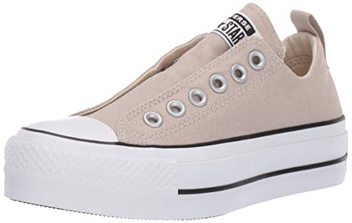 Converse Women's Chuck Taylor All Star Lift Slip Sneaker, Papyrus/White/Black 9.5 M US