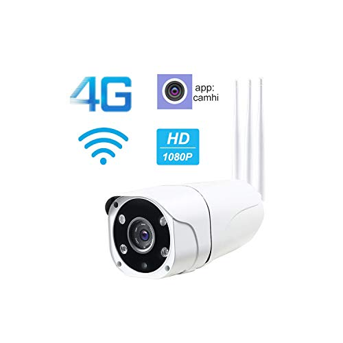 - 1080P 4G WiFi IP Camera Wireless Outdoor Sim Card GSM Bullet Security Camera Ir Night Vision Surveillance Support Sd Card,720P with 16Gb Sd,UK Plug